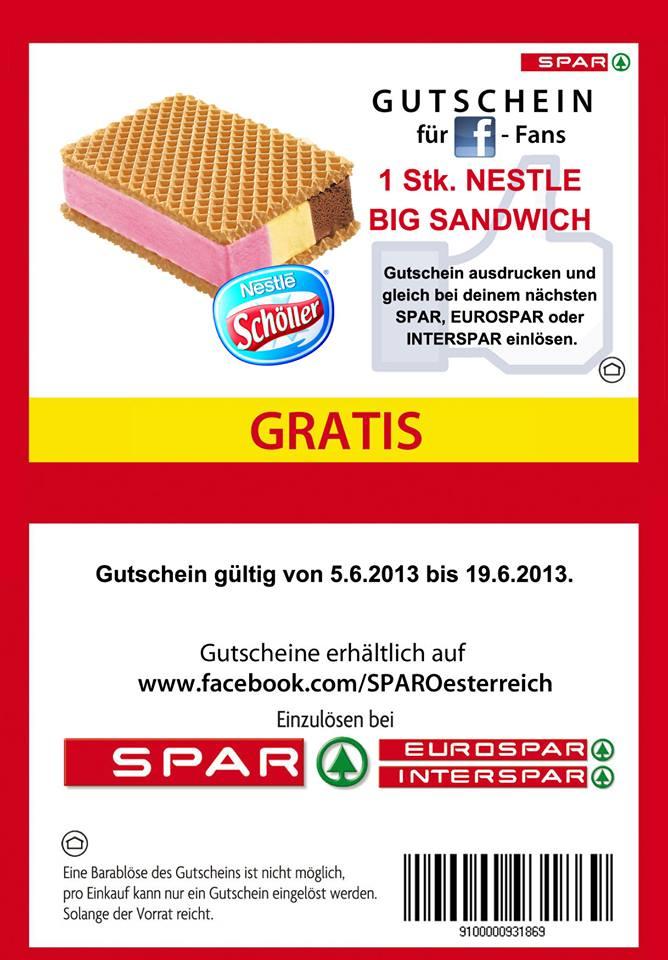 Spar Nestle Big Sandwich kostenlos