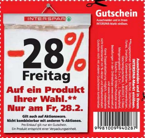 Interspar 28% Rabatt am 28. Februar