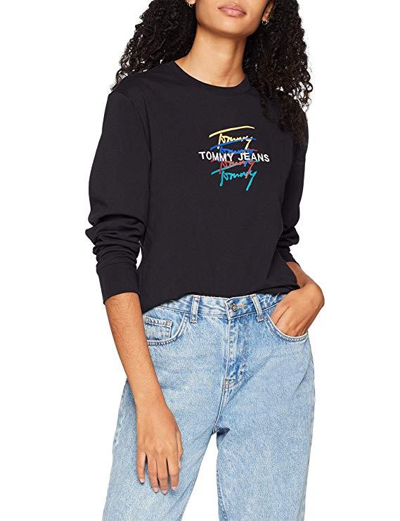 Tommy Jeans Damen Langarmshirt amazon