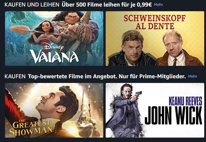 Amazon Prime Video Filme leihen